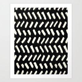 Tribal Dance Dot - Ivory on Black Art Print