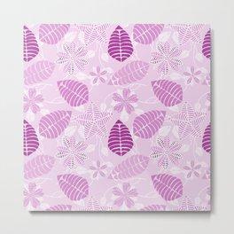 Whimsical Lavender and Purple Floral Leaf Pattern Metal Print