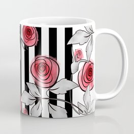 Red roses on black and white striped background. Coffee Mug