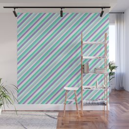 Deep Sea Green Turquoise Violet Inclined Stripes Wall Mural