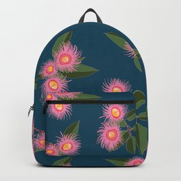 Pink Flowering Gum Australian Native Flora Corymbia Ficifolia Floral on Navy Background Backpack