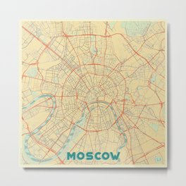 Moscow Map Retro Metal Print