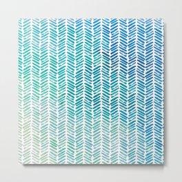 Handpainted Herringbone Chevron pattern - small - teal watercolor on white Metal Print