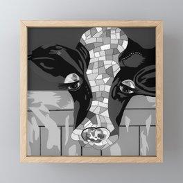 Gray Patchwork Cow Framed Mini Art Print