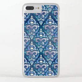 Persian Floral pattern blue and silver Clear iPhone Case