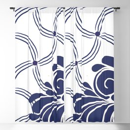 Navy and White Swirls Blackout Curtain