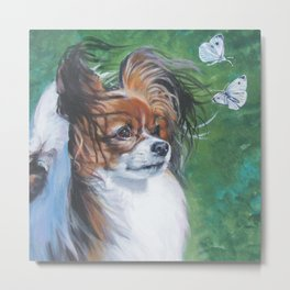 Papillon dog art portrait from an original painting by L.A.Shepard Metal Print