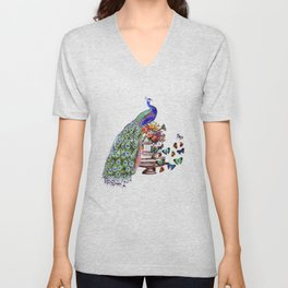 Vintage Peacock Beauty Unisex V-Neck