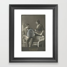 Hand Painted Cabinet Photo - Altered Vintage Photo in Oil Paints Framed Art Print