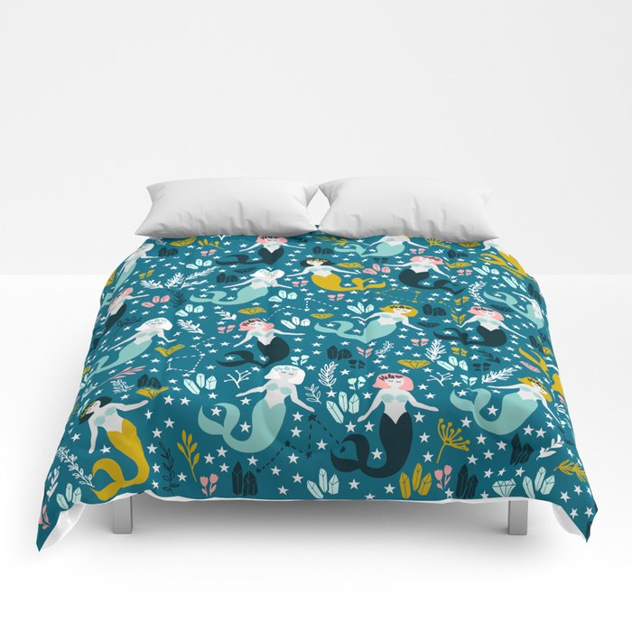 Cute Mermaid and Stars Comforters