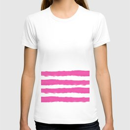 Simply hand painted pink stripes on white background -Mix and Match T-shirt