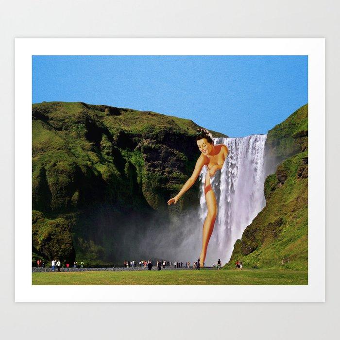Waterfall Lady Art Print