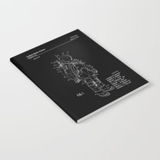 NASA Space Suit Patent - White on Black Notebook