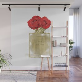 Red Roses & Fashion Perfume Bottle Wall Mural