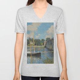 Claude Monet The Bridge at Argenteuil 1874 Painting Unisex V-Neck
