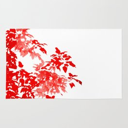 Red Leave Silhouette Rug