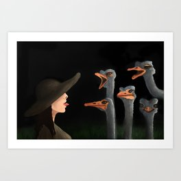 Tamina and The Ostriches Art Print