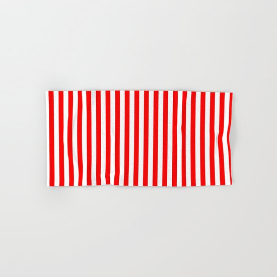 Vertical Stripes (Red/White) Hand & Bath Towel