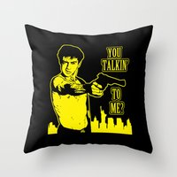 taxi driver Throw Pillows featuring Taxi driver art by Buby87