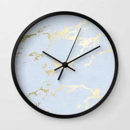 Kintsugi Ceramic Gold on Sky Blue Wall Clock