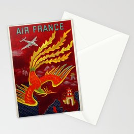 Vintage 1947 Air France for the Orient Extreme-Orient Advertisement Poster by Lucien Bouch Stationery Cards
