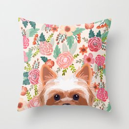 Yorkshire Terrier floral dog portrait pink cute art gifts for yorkie dog breed lovers Throw Pillow
