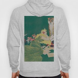 Fantasy Art Deco Woman With Pet Tiger Self culture (edited) - The Werner Company - 1890-1900 Hoody