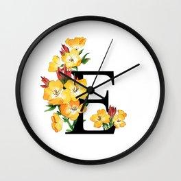 Letter 'E' Evening Primrose Flower Monogram Typography Wall Clock