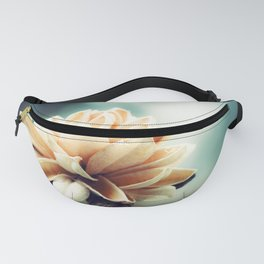 Teal Nature Photography, Turquoise Flower Picture, Dark Aqua Brown Beige Photo, Teal Cream Botanical Fanny Pack