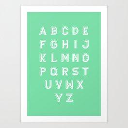 Chiseled alphabet typeface on green background Art Print