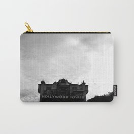 Haunted Hotel Under Cloudy Sky Grayscale Carry-All Pouch