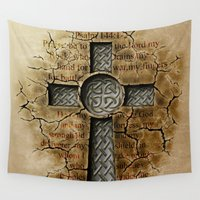 cross Wall Tapestries featuring Cross by ED Art Studio
