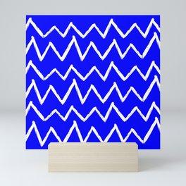 Hand-Drawn Zig Zag (White & Blue Pattern) Mini Art Print