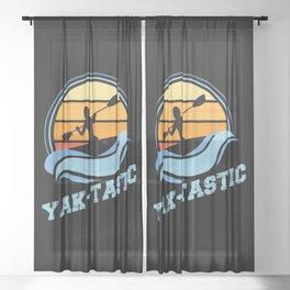 Retro Kayaking Vintage Sunset Yak-tastic Sheer Curtain