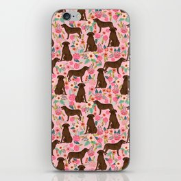 Chocolate Labrador Retriever dog floral gifts must haves chocolate lab lover iPhone Skin