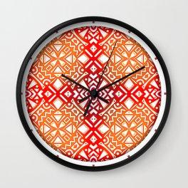 Tribal Tiles II (Red, Orange, Brown) Geometric Wall Clock