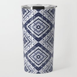 Strict , white blue ornament. Travel Mug