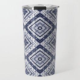 Strict , white blue ornament. Travel Mug