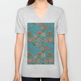 Fantasy Floral in Blue and Orange Unisex V-Neck