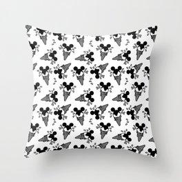 B&W Mickey Icecream Splash Pattern Throw Pillow