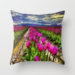 Pink Impression 2 - Digital Painting Throw Pillow