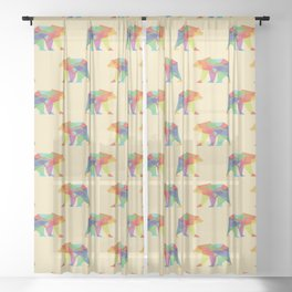 Fractal Geometric bear Sheer Curtain