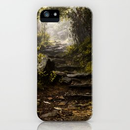 Hiking in the mist  iPhone Case