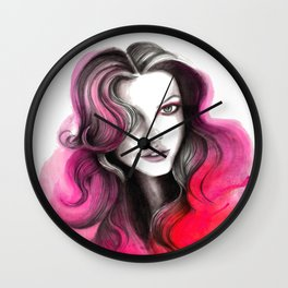 Pink and Red Flame Hair Wall Clock