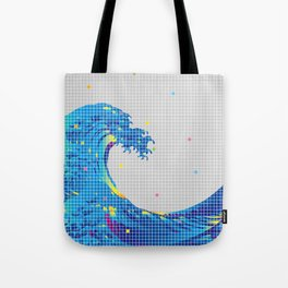 Great Wave in checked pattern_A Tote Bag