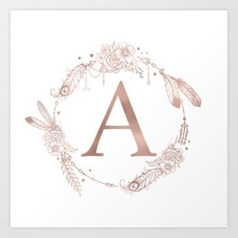 letter a rose gold pink initial monogram art print