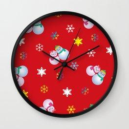 Snowflakes & Pair Snowman_D Wall Clock