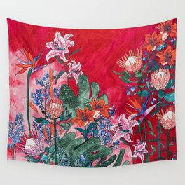 Ruby Red Floral Jungle Wall Tapestry