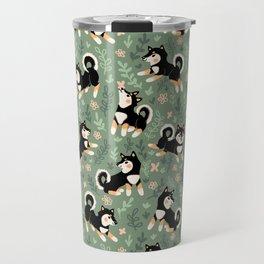 Playful Black And Tan Shiba Inu Pattern Travel Mug