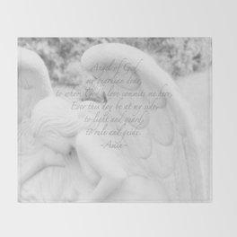 Guardian Angel Prayer | White Angel | Religious Art | Baptism | First Communion Throw Blanket